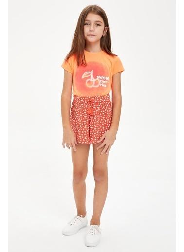 DeFacto Kız Çocuk Kiraz Baskılı Tişört Kırmızı